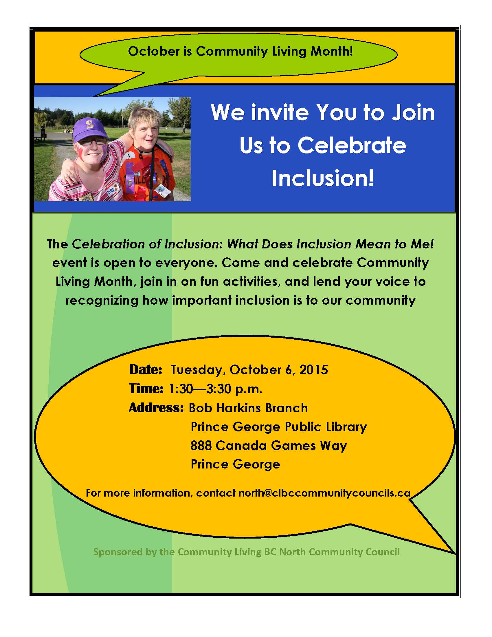 Celebrating Voices October 30th Your >> Prince George Events Celebration Of Inclusion What Does Inclusion