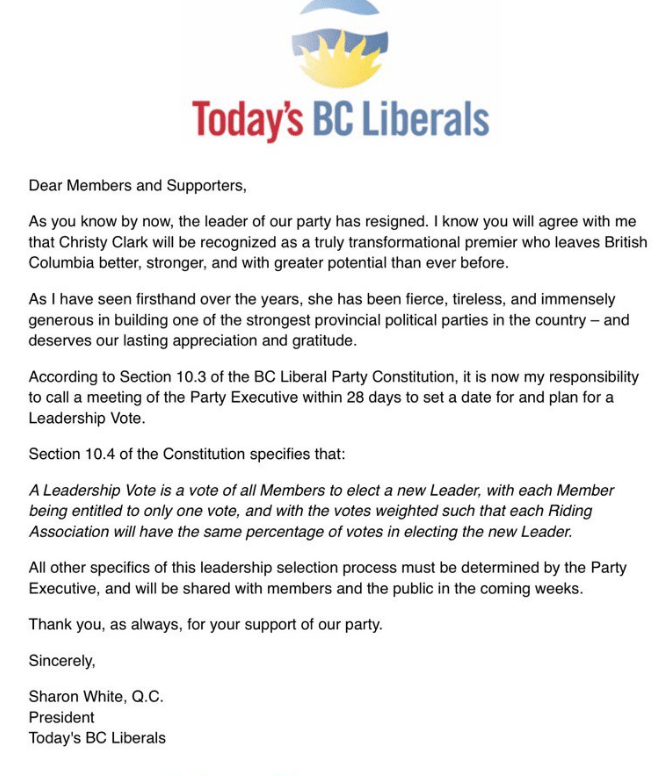 Christy Clark resigns as Liberal Party leader