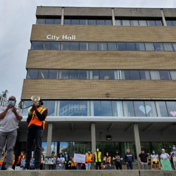 Black Lives Matter Protestors in front of City Hall BLM