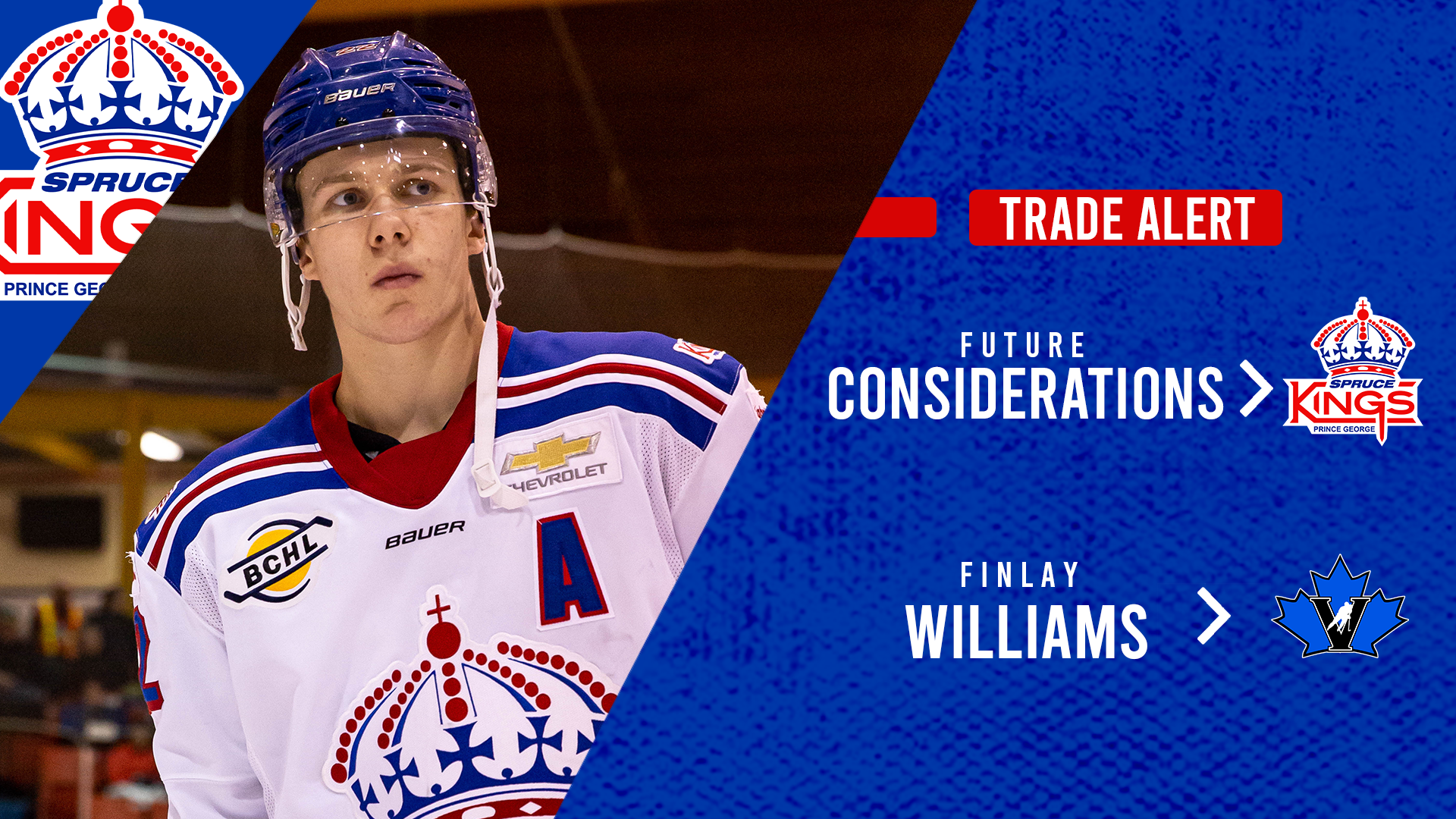 Spruce Kings deal Williams to Penticton for future considerations